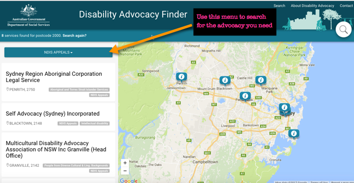 NDIS appeals disability advocacy finder